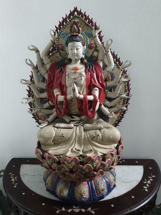 Kwan yin many hands chinese antique terracotta  clay