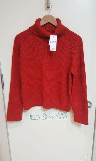 """""""Supre"""" NWT Red Turtle Neck Knit Top (Size S/M)"""
