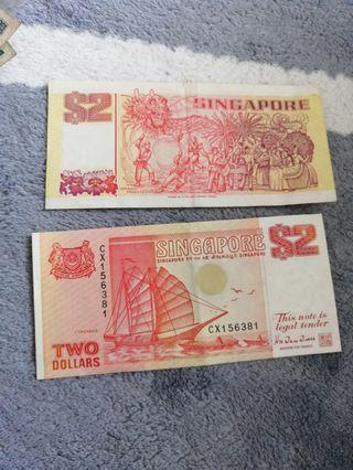 Singapore Old Notes $2/$1