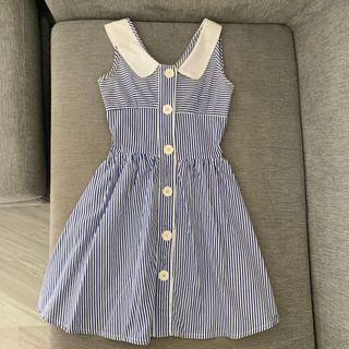 🚚 Button Down Striped Dress with Bow Detail