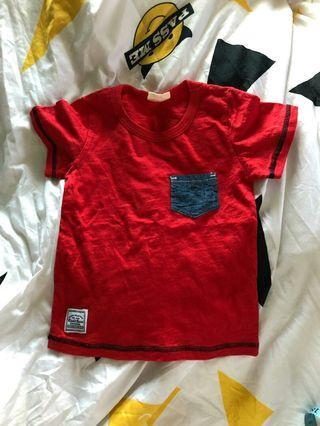 紅色短袖T恤 心口袋 衫仔 初生嬰兒BB 兒童 小童 童裝98碼 sw