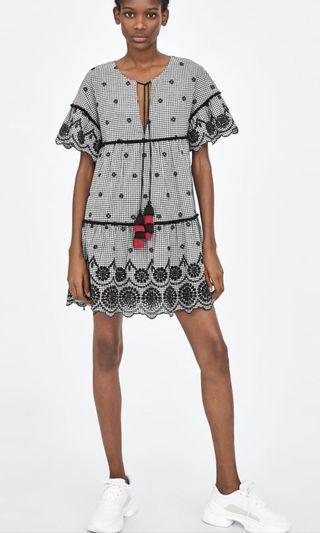 Zara V Neck Dress with Ruffled Sleeves in Embroidery Checked