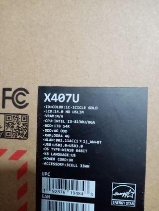 """Asus i3 8th Gen/4GB/1TB HD/14"""" Bnib"""