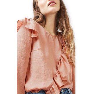 Topshop pink satin ruffle blouse