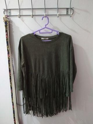 Fringe army green top