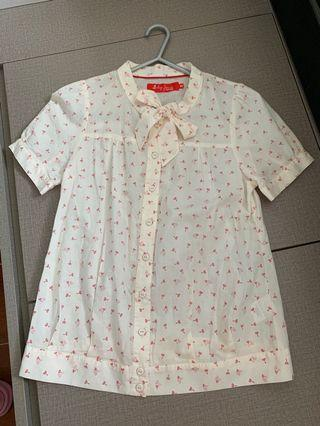 返工 返學 日系米色印花恤衫