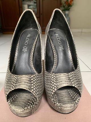 Aldo Snake Skin Leather Open Toe Platform Heels