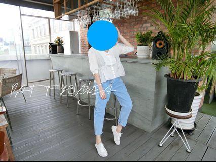🚚 韓國🇰🇷韓貨顯瘦家小花苞牛仔直筒褲
