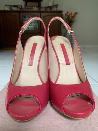 Zara Woman Open Toe Heels in Fuschia