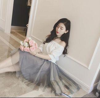 🚚 灰色紡紗洋裝