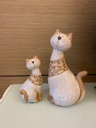 [二手] 貓咪陶瓷擺設組 (1大1小)