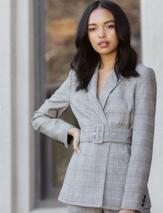 BNWT Forever New Simone Checked Belted Blazer Size 8