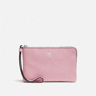 NEW Coach Corner Zip Wristlet in Carnation Pink / Silver