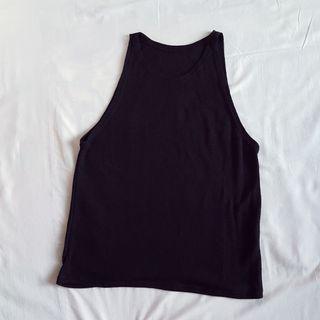 黑色針織感削肩背心