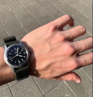 收藏割愛 二手🇨🇭瑞士原裝機芯 HAMILTON 黑面二戰美軍復刻款手上鍊軍錶
