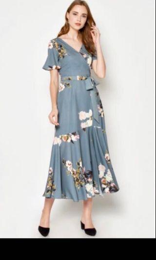 Love and Bravery- Rosia maxi wrap dress ash blue