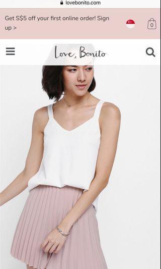 🚚 Love bonito- Serenia pleated mini skirt blush (L)
