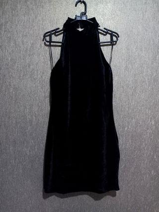 Zara velvet black sexy back dress