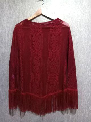 Maroon Fringe Beach Wear