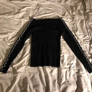 Zara Off The Shoulder Knitted Black Jumper / Sweater
