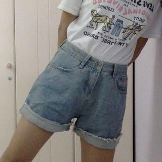 High waist wide legs denim Shorts