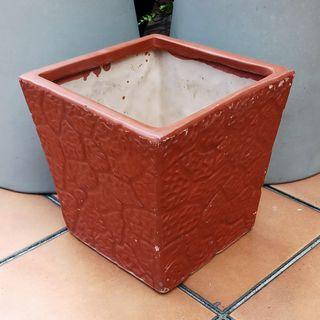Ceramic Flower/Plant Pot - Brown (Square W18 H18 cm)