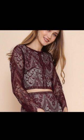 🚚 Nicolette Lace Burgundy TOP + Skirt