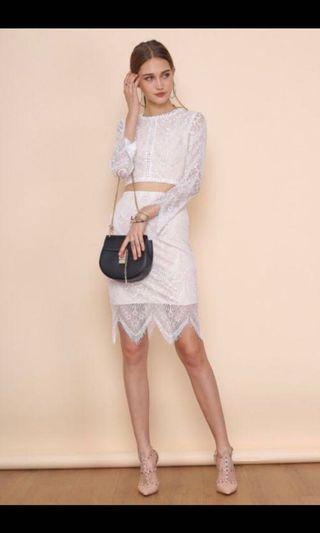 Nicolette lace dress in white TOP + skirt