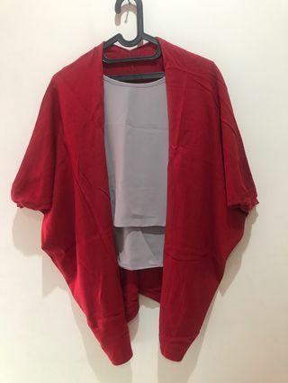 Outer merah bahan knit halus