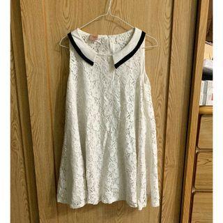 白色雕花氣質洋裝 二手