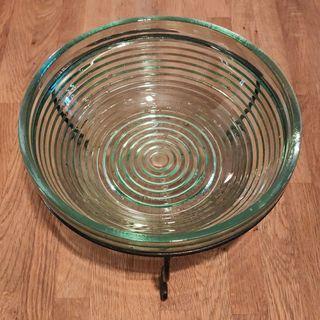 Bowl, glass, metal stand,