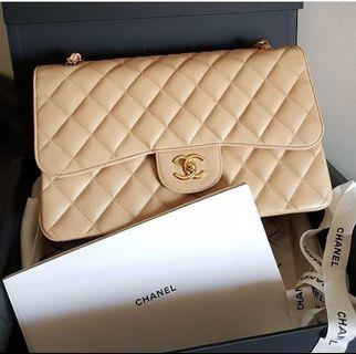 100% Authentic Chanel Jumbo Flap in beige Caviar