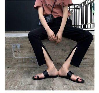 🚚 💼上班也時尚🔥內開衩黑色直筒長褲