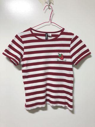 H&M Strawberry Red Stripe Crop Top