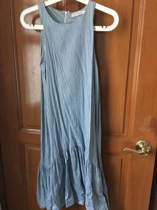 🚚 Hollyhoque Pinstripes Drop Waist Frill Hem Dress