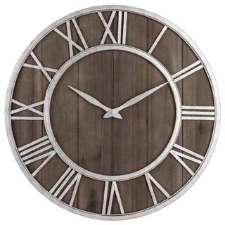 🚚 Creative Silver Roman Wall Clock W Brown Wood Base 40cm/60cm