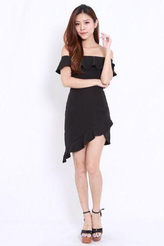 Carrislabelle asymmetrical side frill dress