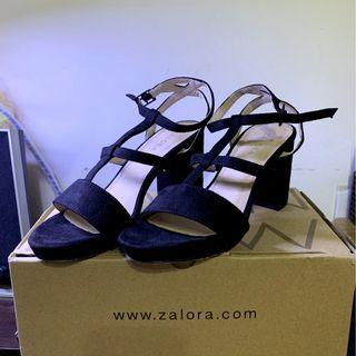 ZALORA 麂皮繞帶粗跟鞋 23.5 歐碼37 二手 已洗過
