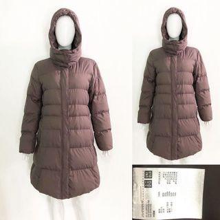 Uniqlo brown seamless down long winter coat / jacket (jaket bulu angsa)