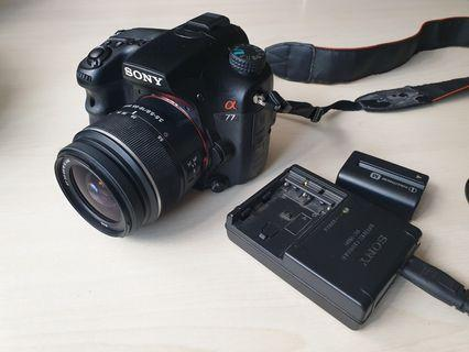 Sony SLT-A77 camera with lens