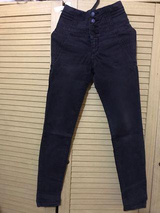 Jeans high waist black denim