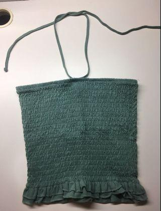 Green Bandeau Ruched Top With Halter String