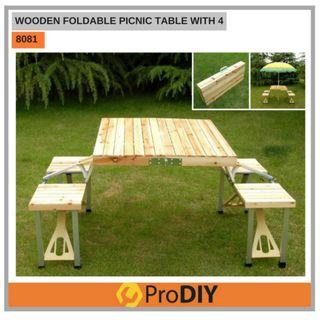 Free Delivery - 8081 WOODEN FOLDABLE PICNIC TABLE MEJA LIPAT WITH 4 CHAIR