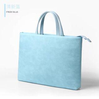 🚚 Laptop bag blue synthetic leather for 13 inches laptop