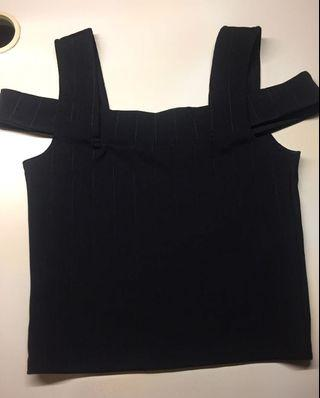 Black Double Strap Sleeved Top