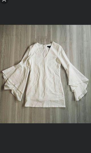 歐美白色雪紡雙層喇叭袖洋裝