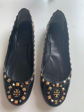 TORYBURCH BLACK Leather FLAT Shoes (2175)