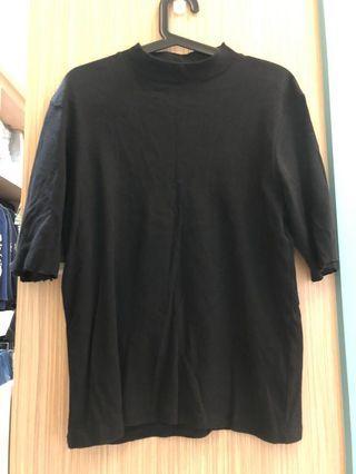 GU黑色7分袖高領上衣