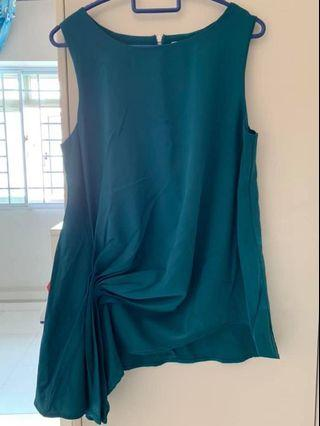 🚚 Brand New Teal Sleeveless Top with side gathers