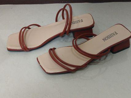全新 Fashion 紅色 高跟鞋 涼鞋 可愛 平口 造型 細 舒適 跟3公分